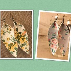 2 handmade floral print earrings